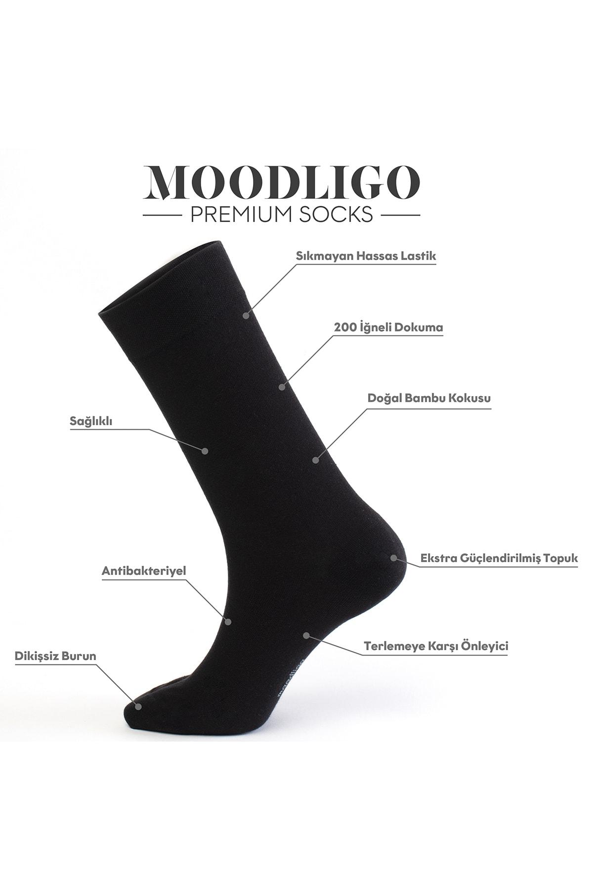 Moodligo Premium 6'lı Erkek Bambu Çorap - 3 Siyah 3Lacivert 2