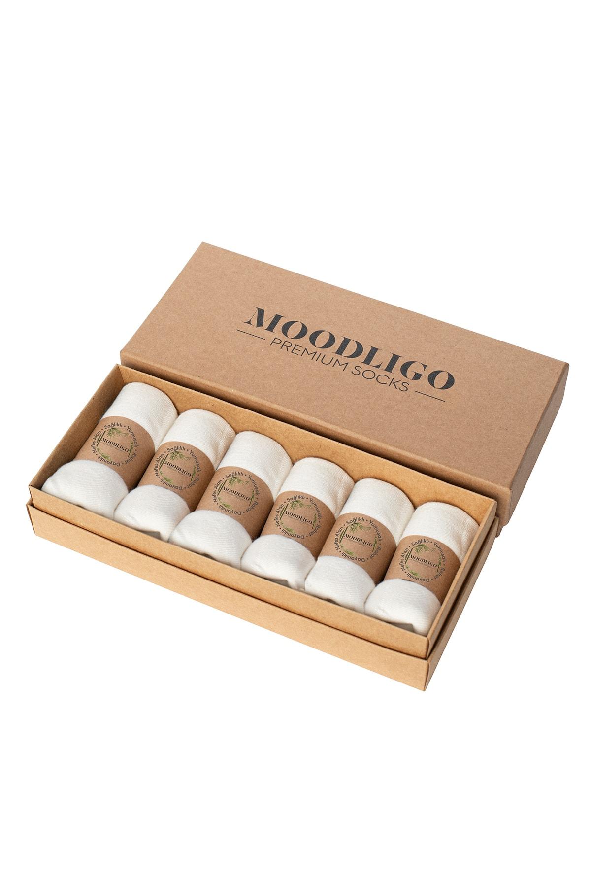 Moodligo Erkek Beyaz Premium 6'lı Bambu Patik Çorap 1