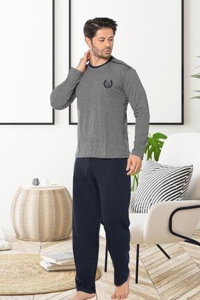Oksit Gls 3253 Bisiklet Yaka Uzun Kol Erkek Pijama Takımı