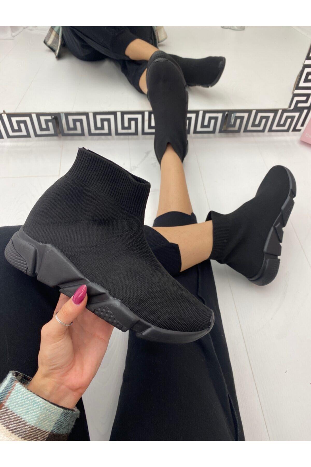 ELSESHOES Kadın Sıyah Bogazlı Spor Ayakkabı 1