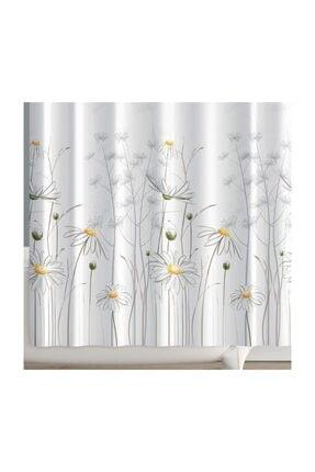 PRADO Beyaz Daisy Banyo Perdesi + Askı 180x200 cm