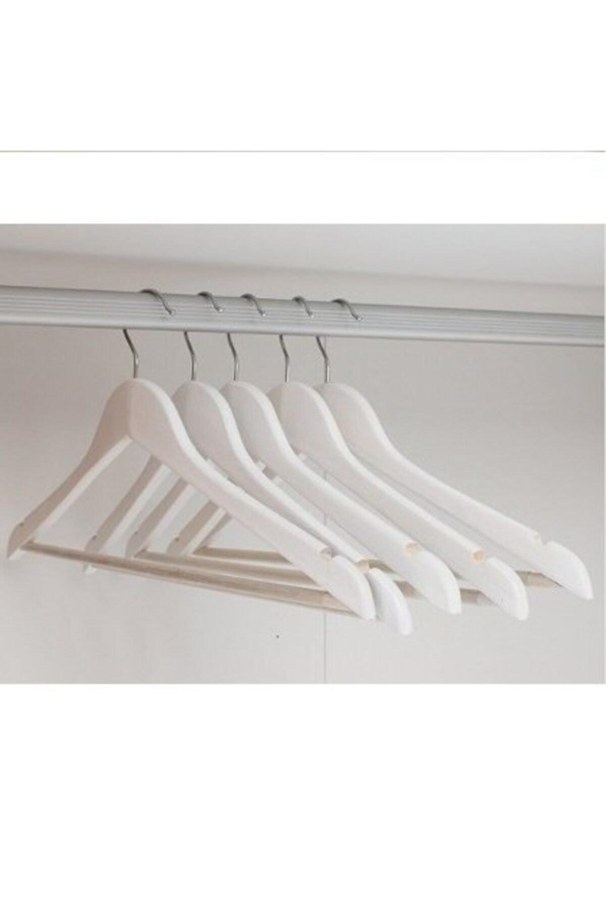 KARİN EV 12 Adet Ahşap Görünümlü Plastik A Kalite Askı, Kıyafet Ve Elbise Askısı Beyaz 2