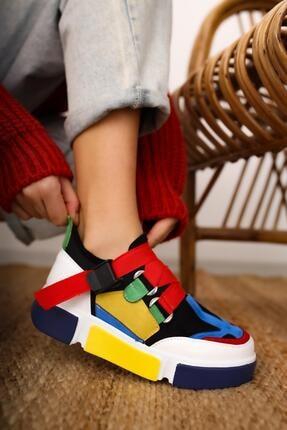 Limoya Lana Deri Sarı/beyaz Lastikli Spor Ayakkabı