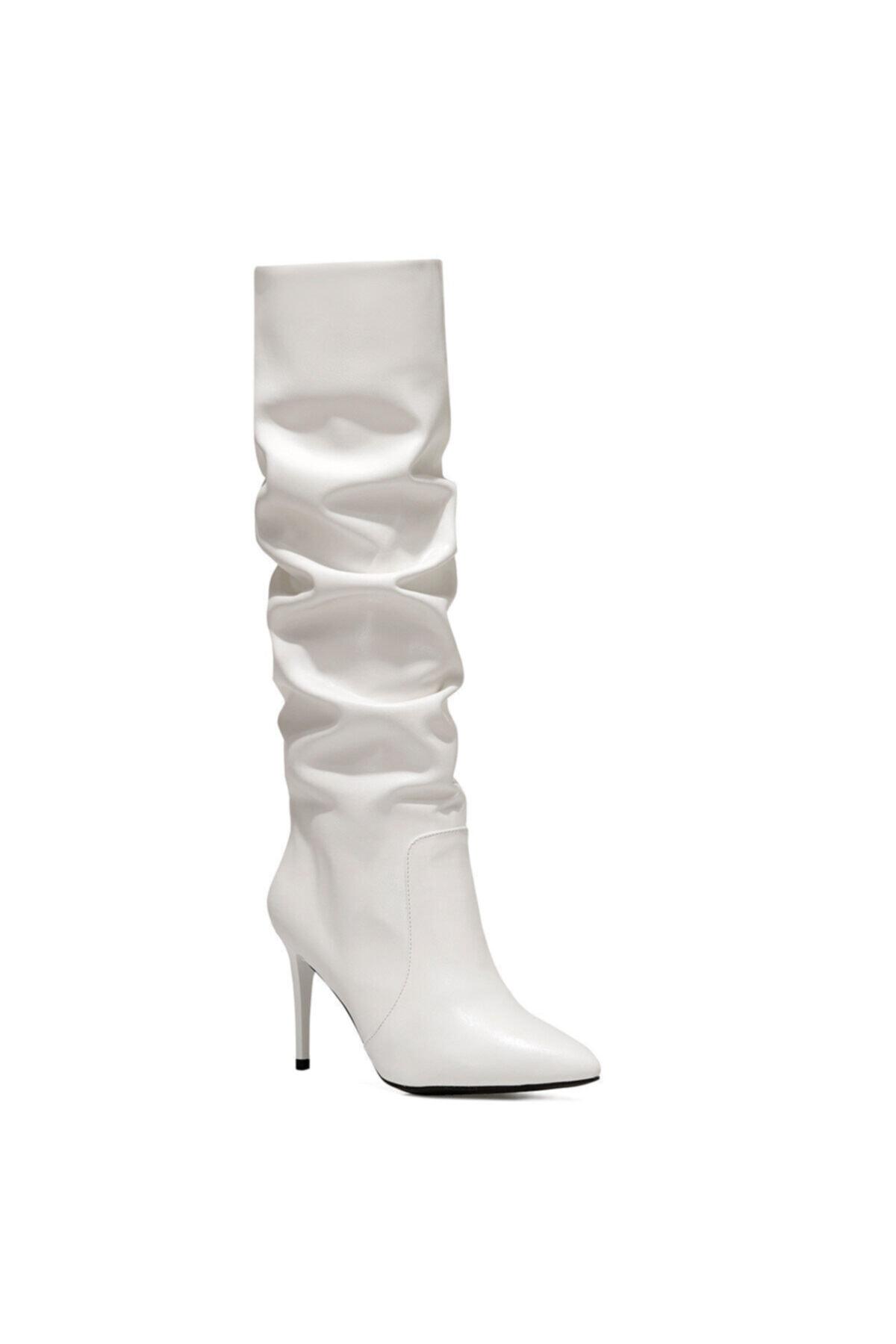Nine West PINTO Beyaz Kadın Ökçeli Çizme 100582068 2