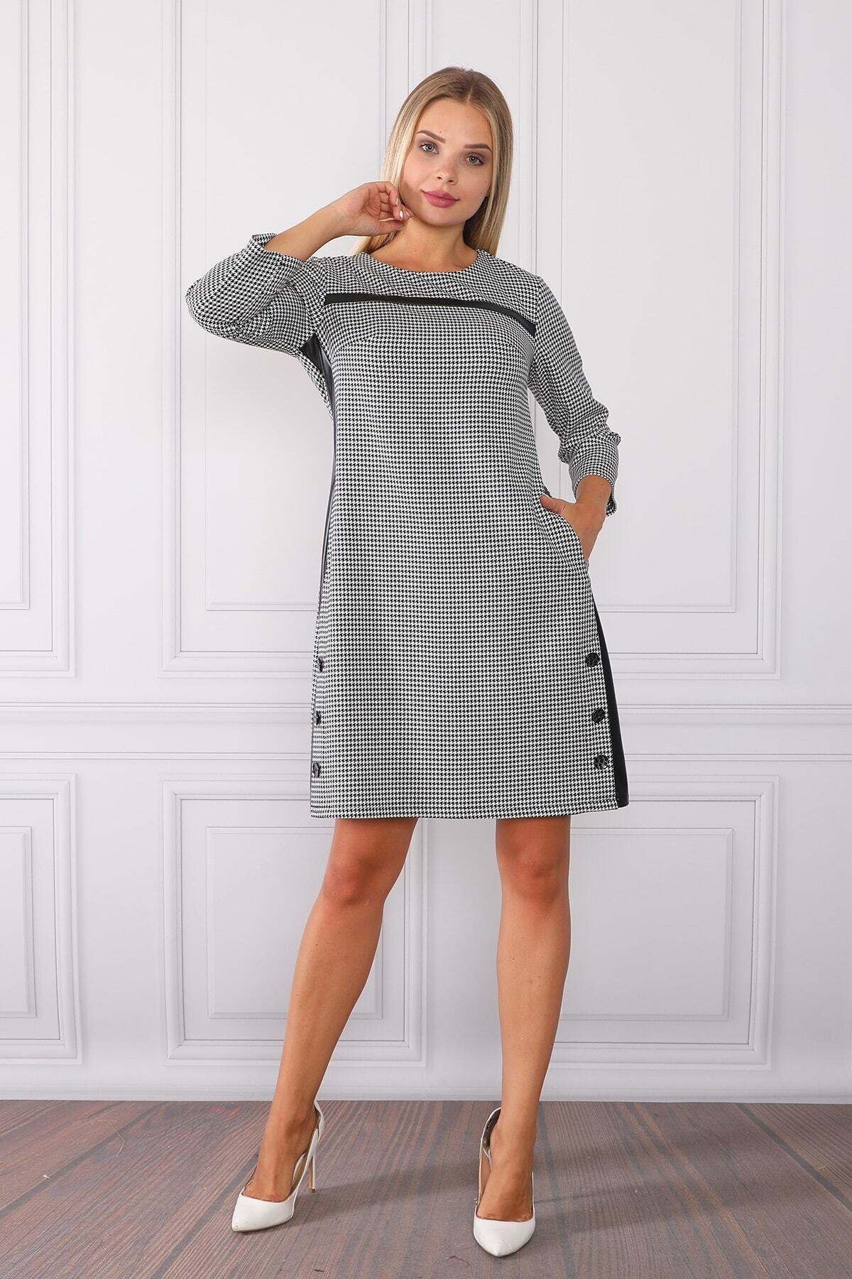 Element's Kadın Çizgili Ve Deri Detaylı Elbise 2