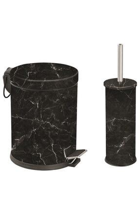 Foreca Mermer Desen 2 Li Çöp Kovası Siyah