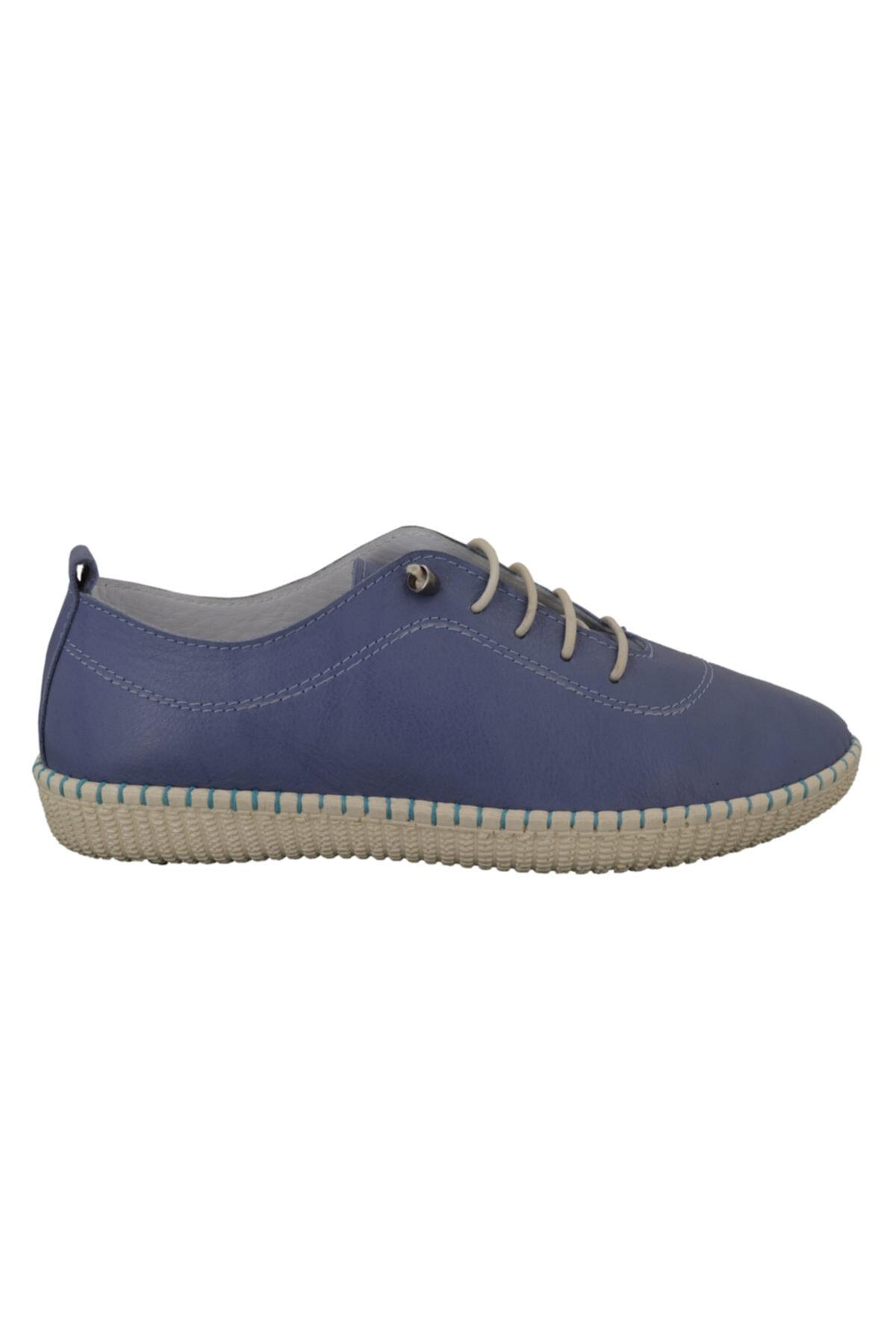 Hobby Mavi Deri Kadın Ayakkabı Fb111 1
