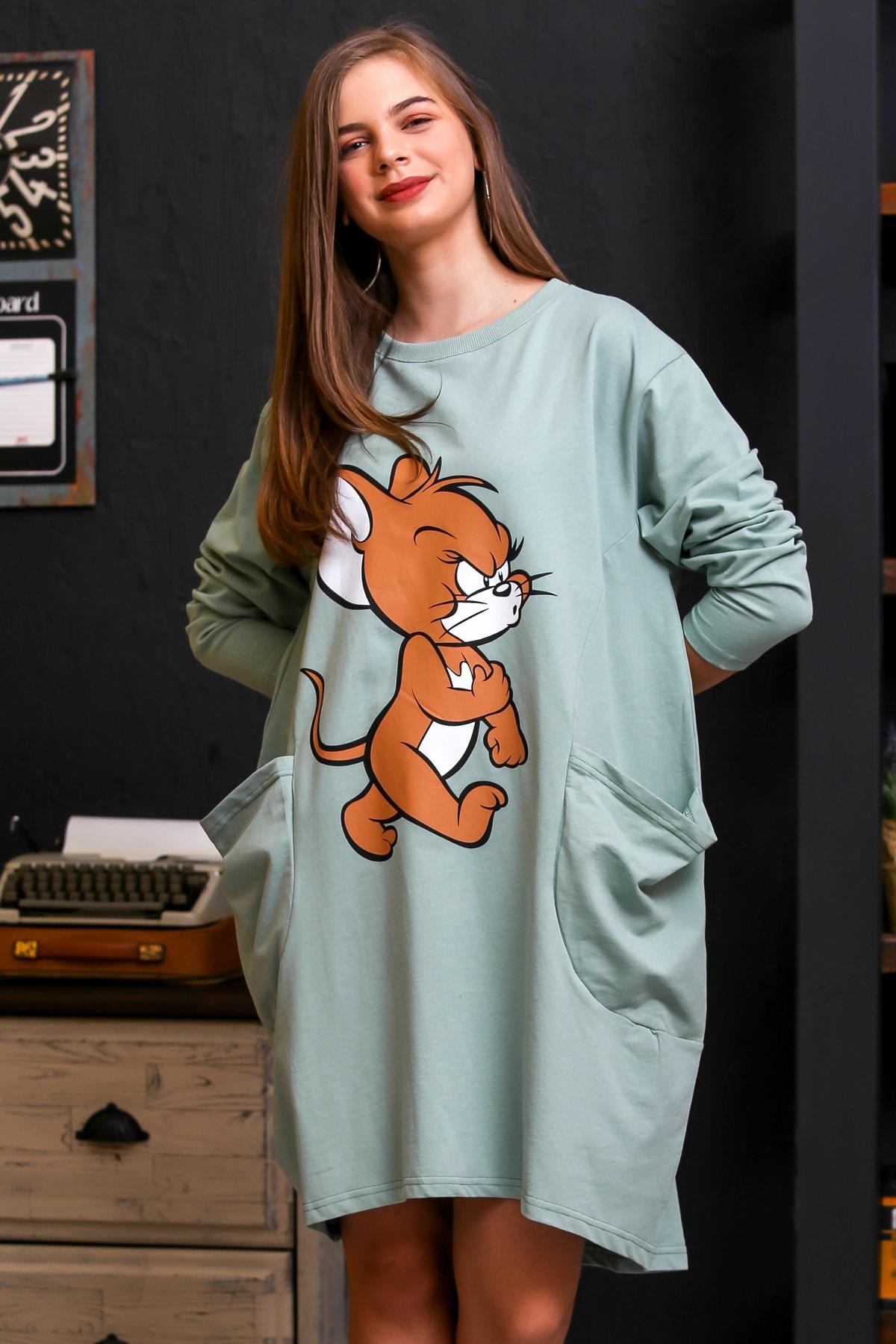 Chiccy Kadın Mint Karakter Baskılı Cepli İki İplik Salaş Elbise C10160000EL95951