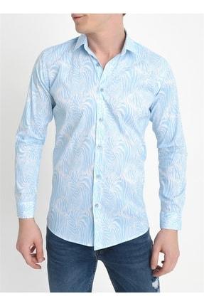 Efor G 1407 Slim Fit Mavi Spor Gömlek