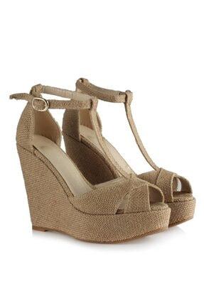 37Numara Dolgu Topuklu Ayakkabı Hasır Yüsek Topuklu