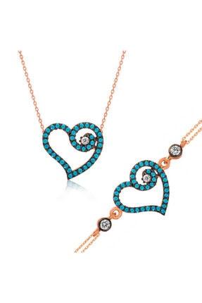 Gumush Mavi Kalpli Bayan 925 Ayar Gümüş Set