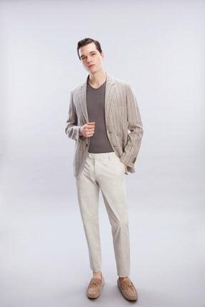 W Collection Bej Grı Desenli Ceket