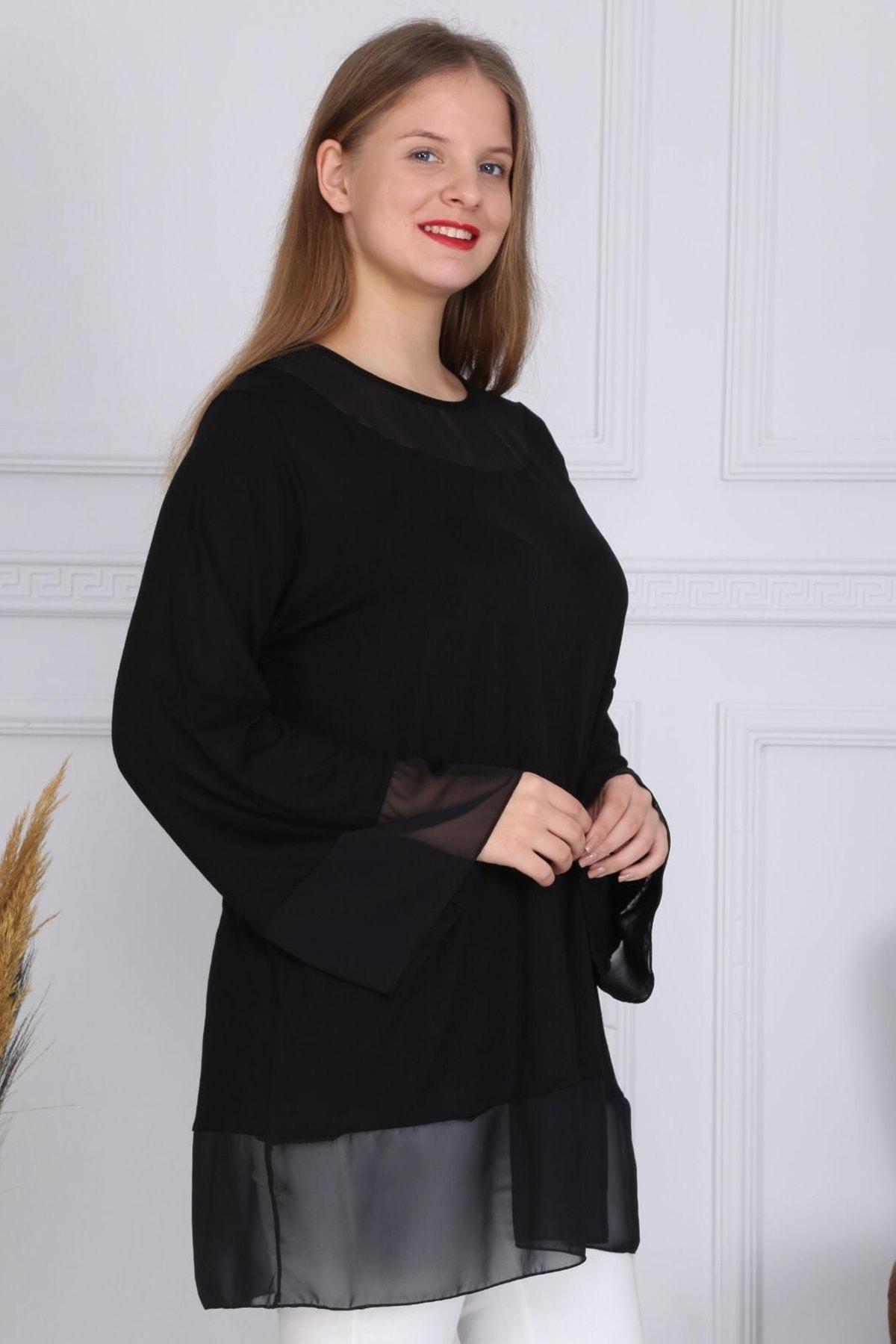 1fazlası Kol Ve Yaka Şifon Detaylı Viskon Tunik Bluz 2