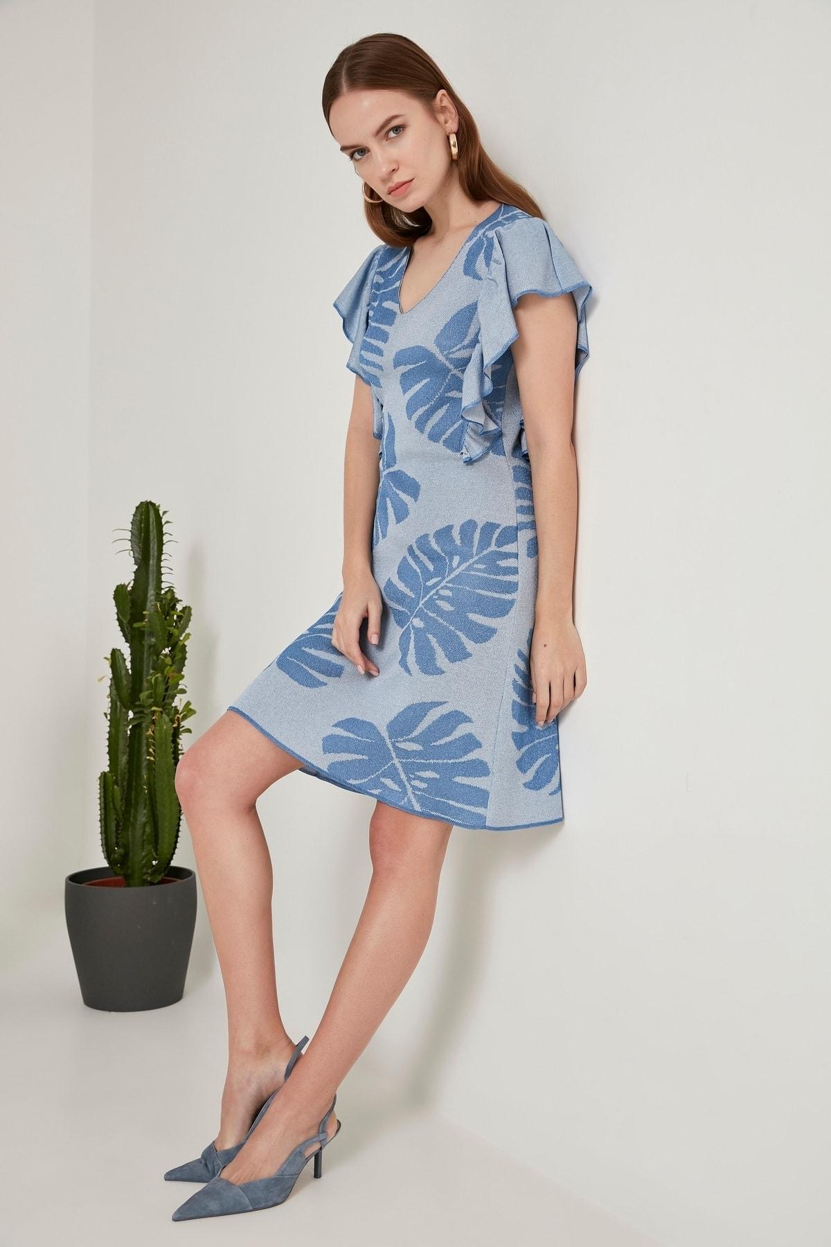 JOIN US Yaprak Desenli Triko Elbise -mavi 2