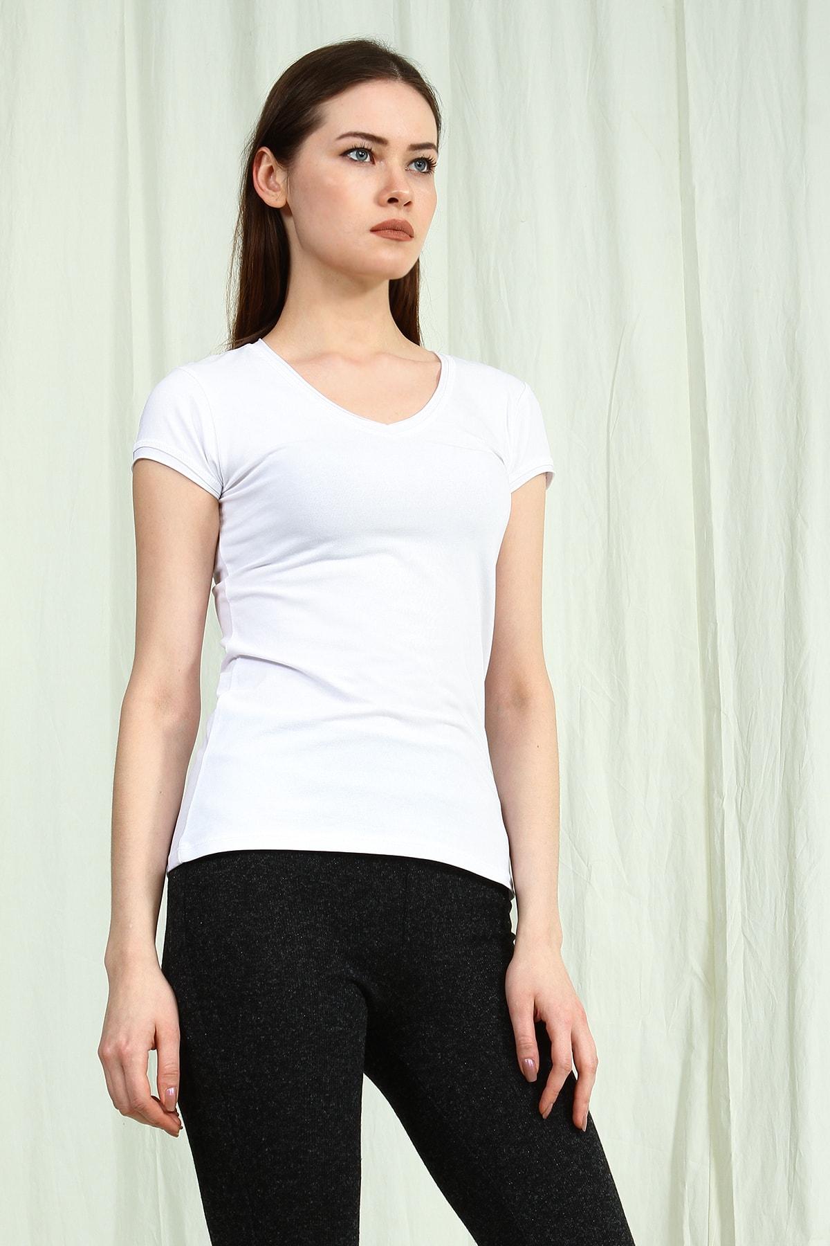 Collezione Kadın Beyaz V Yakalı Kısa Kollu Basic Tshirt 2