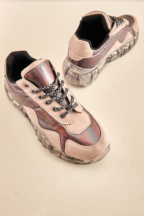 Bambi Taş Platin Nubuk Kadın Sneaker K0601341571