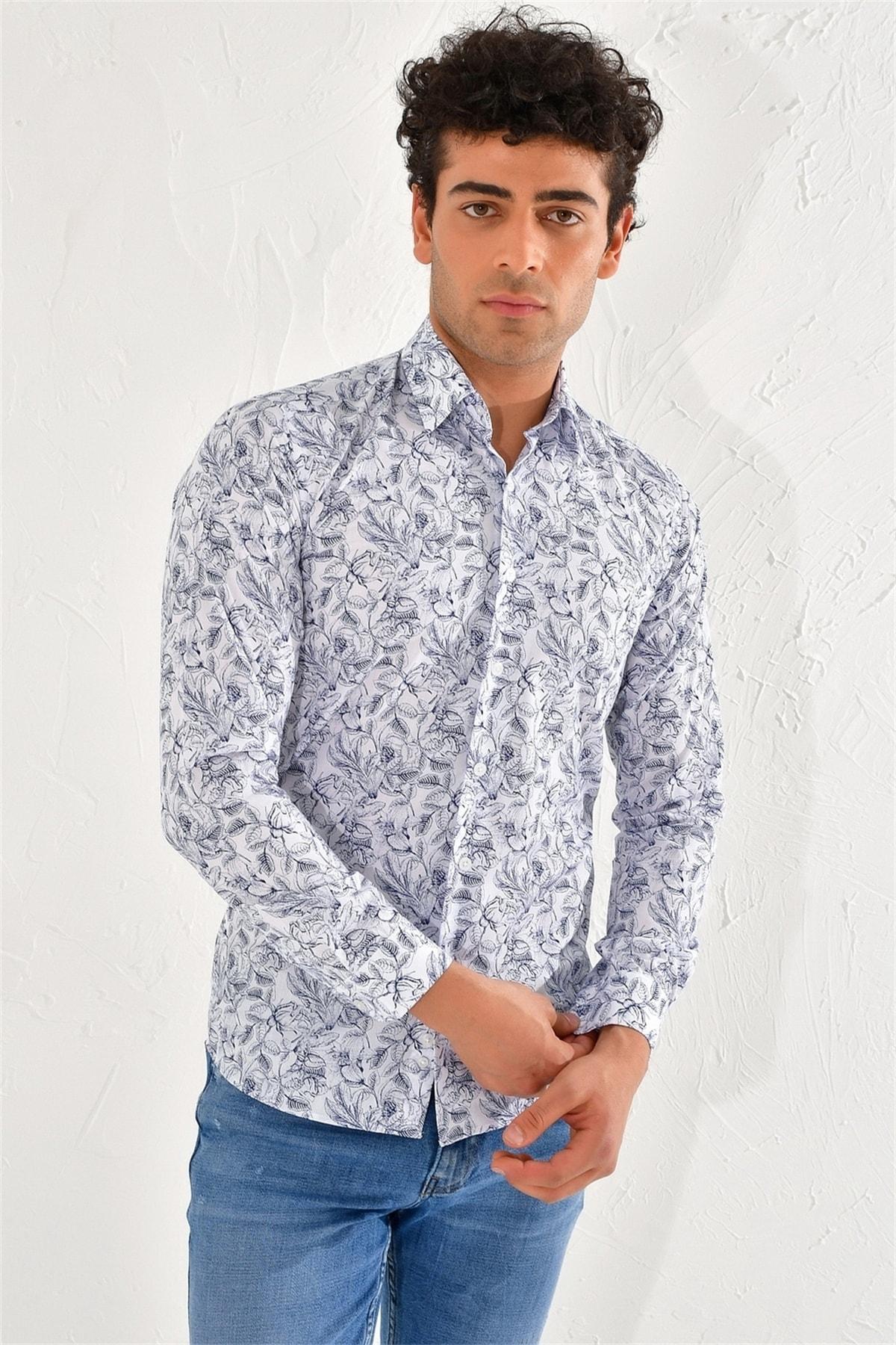 Efor Gk 592 Slim Fit Beyaz-lacivert Klasik Gömlek 2