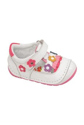 KAPTAN JUNIOR Ilkadım Hakiki Deri Kız Bebek Çocuk Ortopedik Ayakkabı Patik Imsk 603 Beyaz