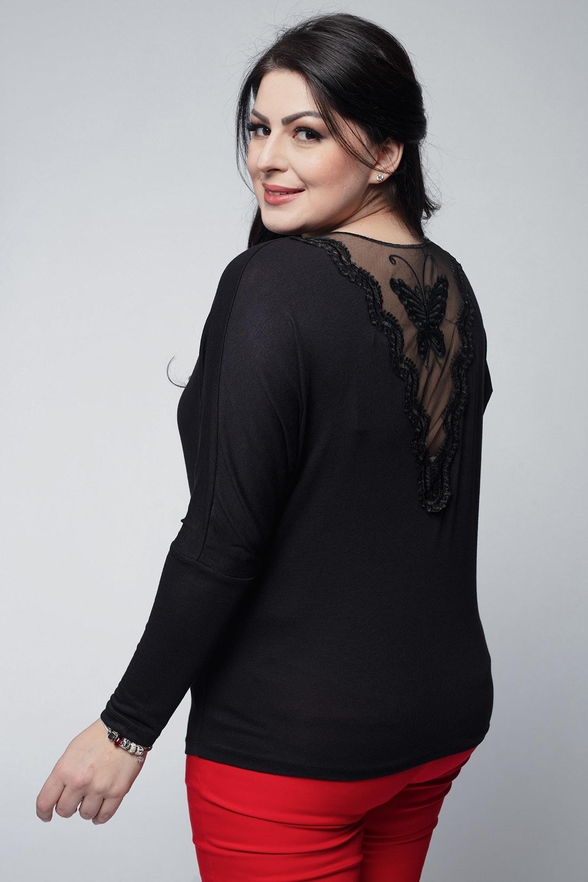 Ebsumu Kadın Büyük Beden Yarasa Kol Sırtı Transparan Kelebek Işlemeli Siyah Bluz 1