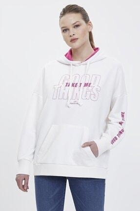 Loft Kadın Slim Fit Baskılı Beyaz Sweatshirt Lf2023421