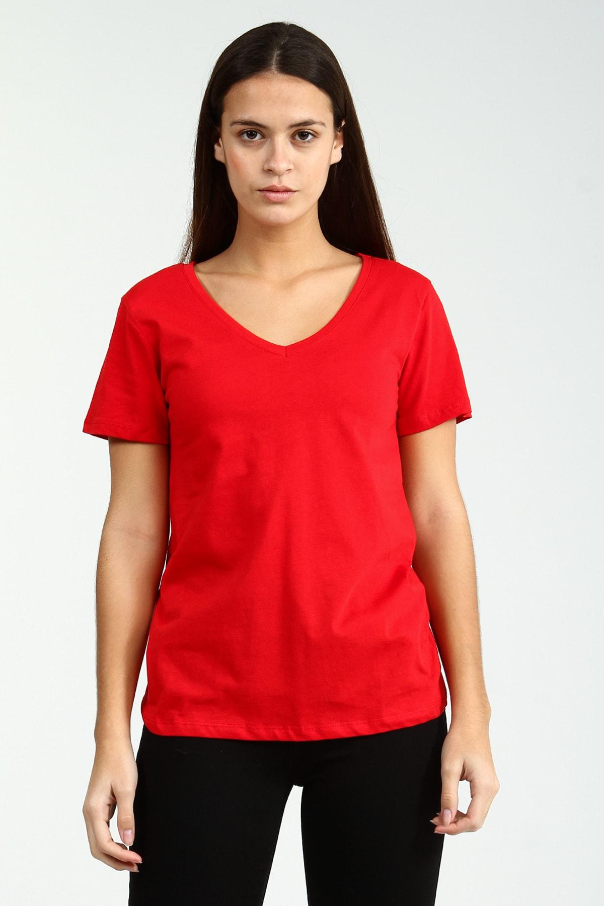 Collezione Kırmızı V Yakalı Kısa Kollu Basic Kadın Tshirt 2