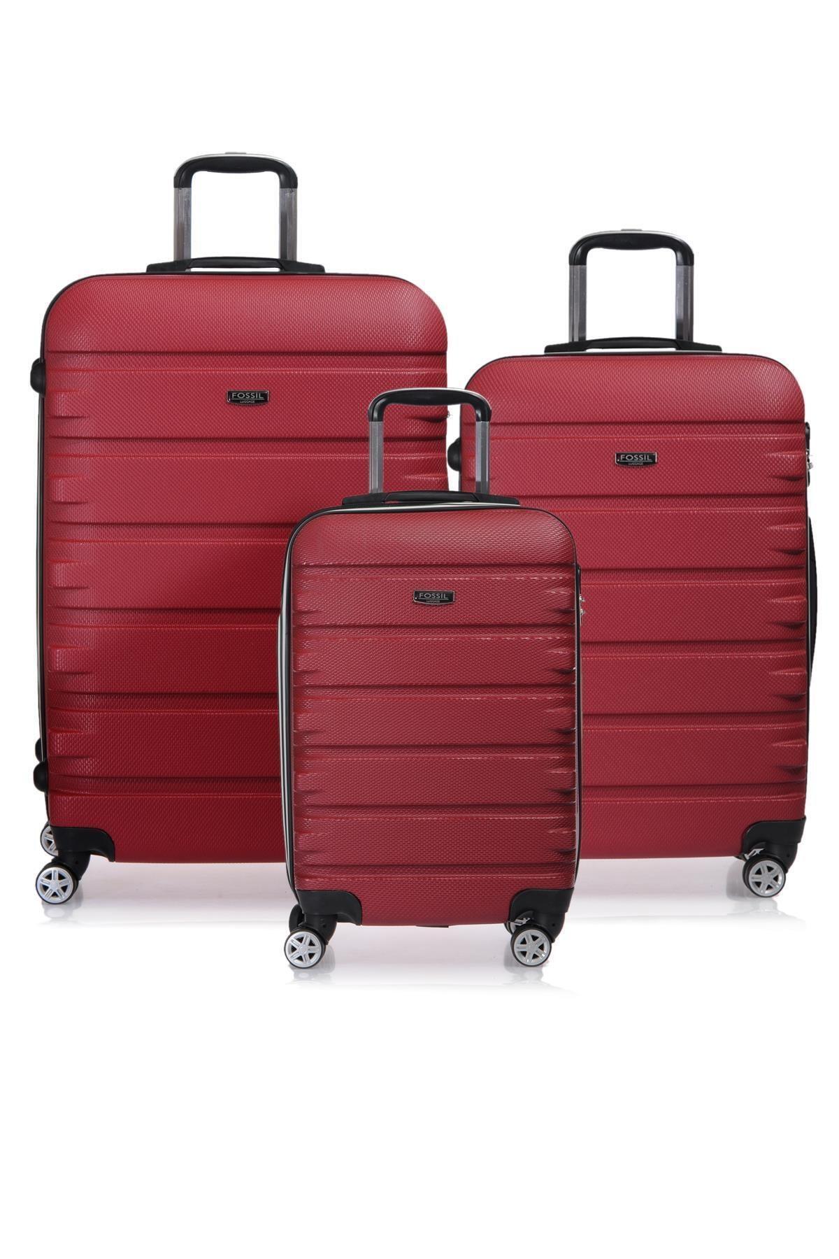Fossil Fsy1116-set Kırmızı Kırmızı Unısex 3 Lü Set Valiz 1