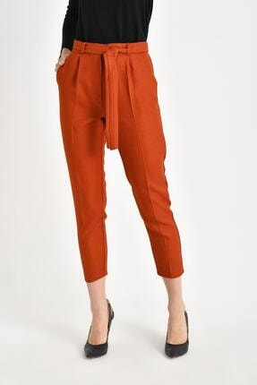 TENA MODA Kadın Kiremit Beli Kuşak Bağlamalı Pantolon