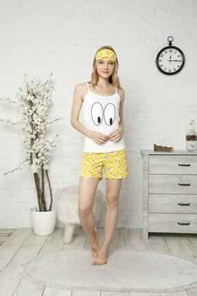 TENA MODA Kadın Ekru Ip Askılı Atletli Şortlu Göz Baskılı Pijama Takımı