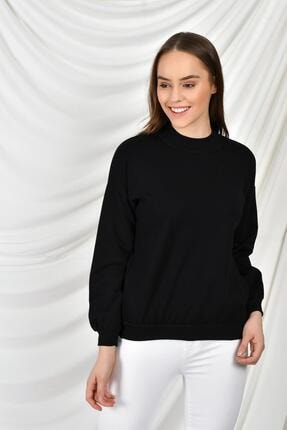 TENA MODA Kadın Siyah Dik Yaka Iki Iplik Sweatshirt