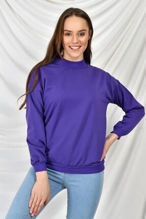 TENA MODA Kadın Mor Dik Yaka Iki Iplik Sweatshirt