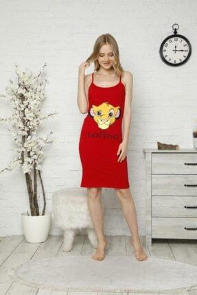 TENA MODA Kadın Kırmızı Ip Askılı Aslan Kral Baskılı Gecelik Pijama