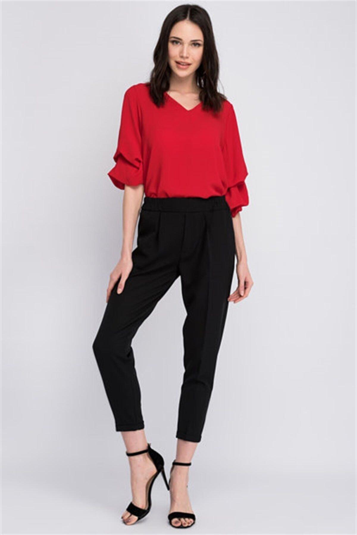 Cotton Mood 8122590 Azra Cepli Beli Lastikli Havuç Pantolon Sıyah 1
