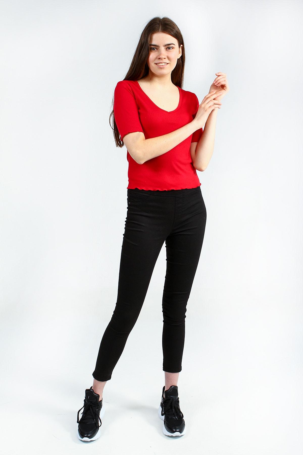 Collezione Kırmızı V Yakalı Bel Ve Kol Detaylı Kısa Kollu Basic Kadın Tshirt 2