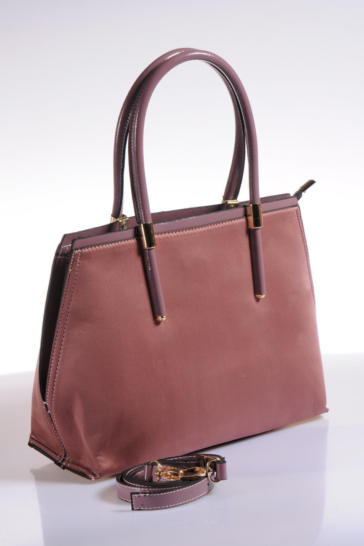 Sergio Giorgianni Luxury Td655 Süet Gül Kadın Omuz Çantası 2