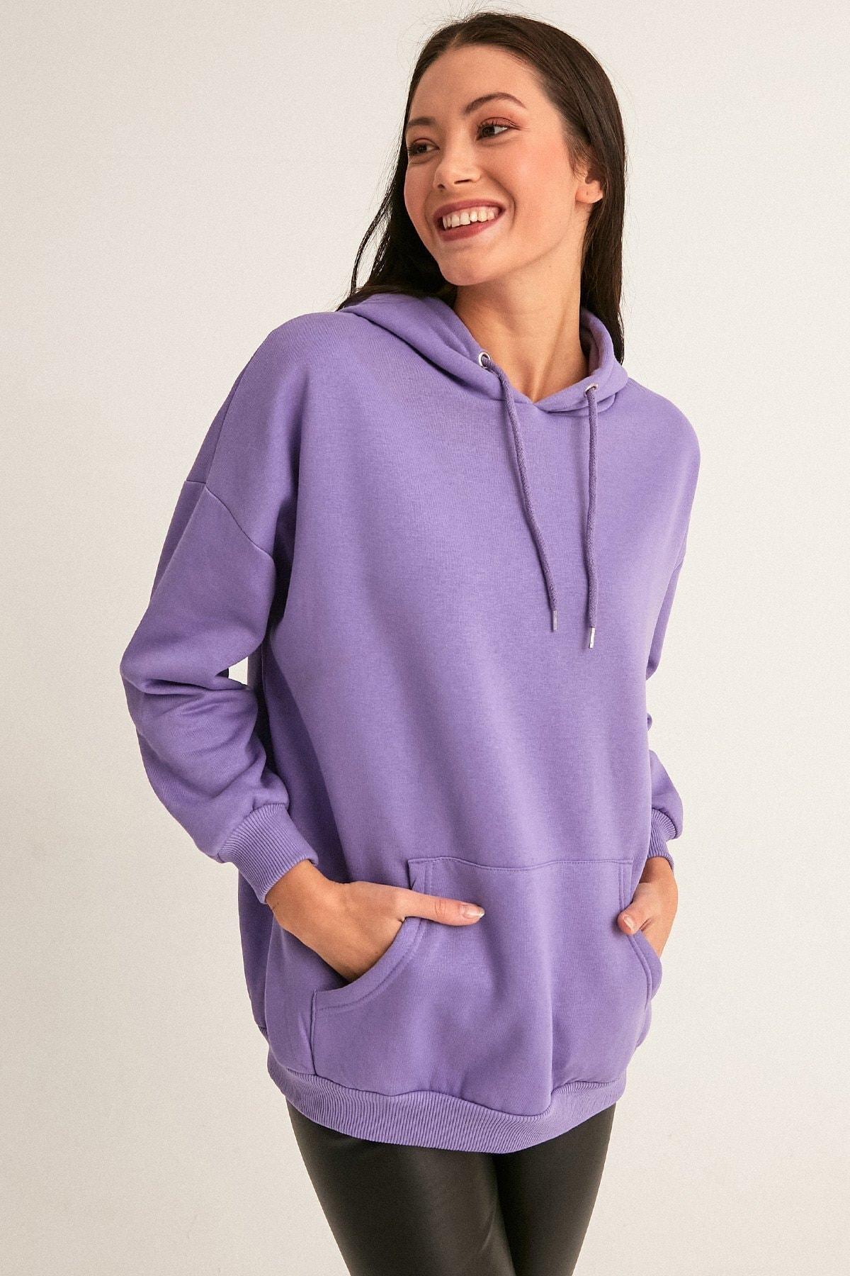 Fulla Moda Kanguru Cepli Kapüşonlu Sweatshirt 1
