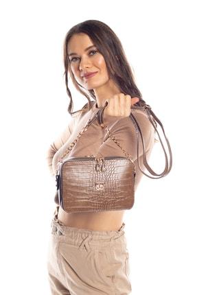 Madamra Aynı Butikte 2. Ürün 1 TL Koyu Vizon Kroko Kadın Kutu Zincirli Çapraz Çanta