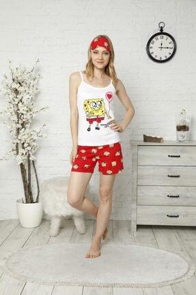 TENA MODA Kadın Ekru Ip Askılı Atletli Şortlu Sponge Bob Baskılı Pijama Takımı