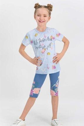 U.S. Polo Assn. U.s. Polo Assn Lisanslı Açık Mavi Kız Çocuk Tayt Takım Us668-c