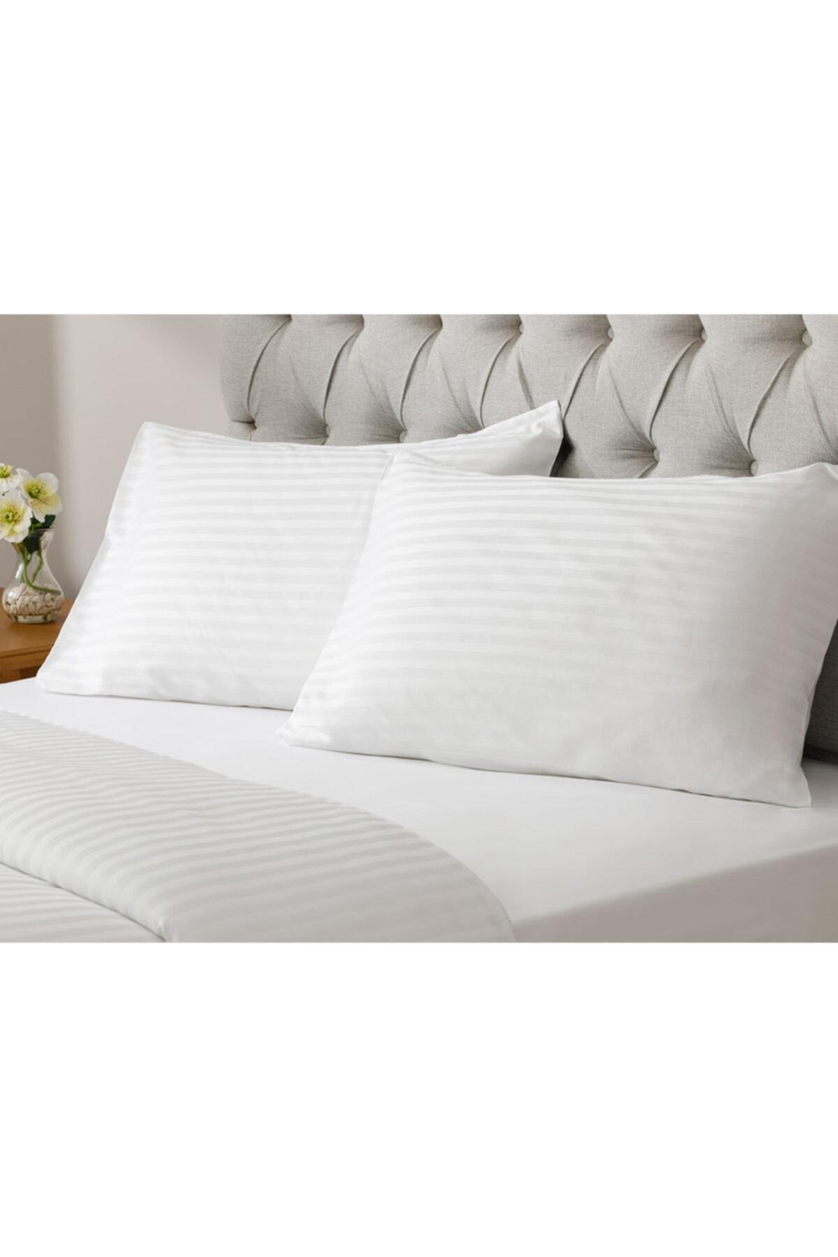 English Home White Collection Saten Çizgili Çift Kişilik Nevresim Takımı 200x220 Cm Beyaz 2