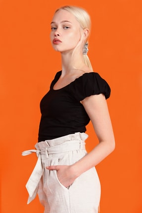 Collezione Siyah Kadın Sıyah Spor Slim Kısa Kol T-shirt