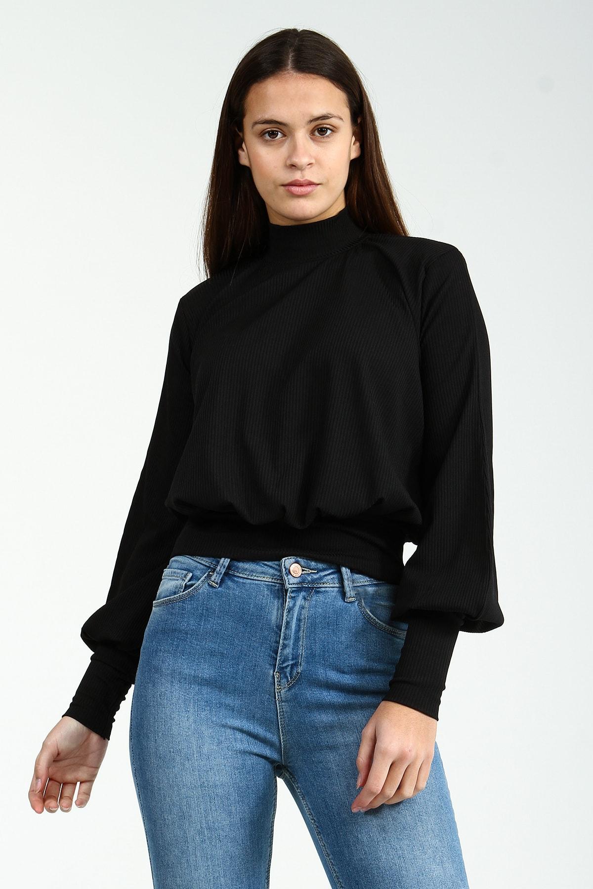 Collezione Siyah Boğazlı Balon Kollu Bel Ve Kol Lastik Detaylı Kadın Bluz 2