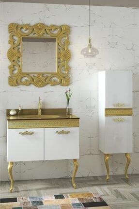 Housepack Gold Beyaz 115 Cm Boy Dolaplı Cam Lavabolu Lüx Banyo Takımı