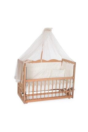 Bambidoo Organik Ahşap Beşik Anne Yanı Beşik 4 Kademeli 60x120 - Krem Güpürlü Uyku Setli Sallanır Beşik