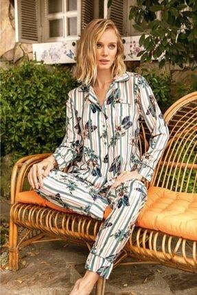 Anıl 9637 Kadın Çiçekli Çizgili Viskon Gömlek Pijama Takım