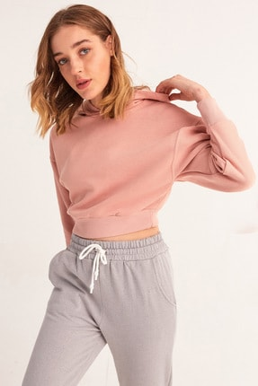 Fulla Moda Kapüşonlu Kısa Sweatshirt