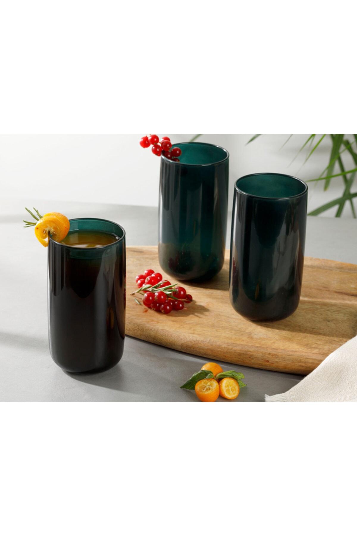 English Home Pia Cam 3'lü Meşrubat Bardağı 365 Ml Koyu Yeşil 1