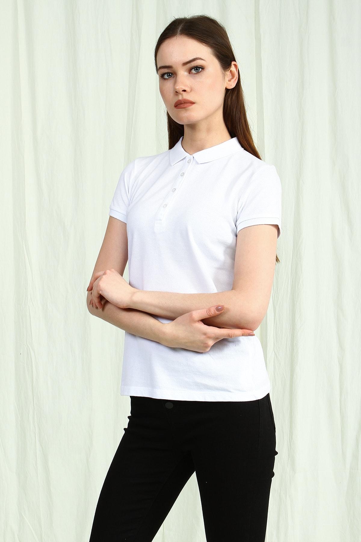 Collezione Beyaz Polo Yaka Kısa Kollu Basic Kadın Tshirt 2