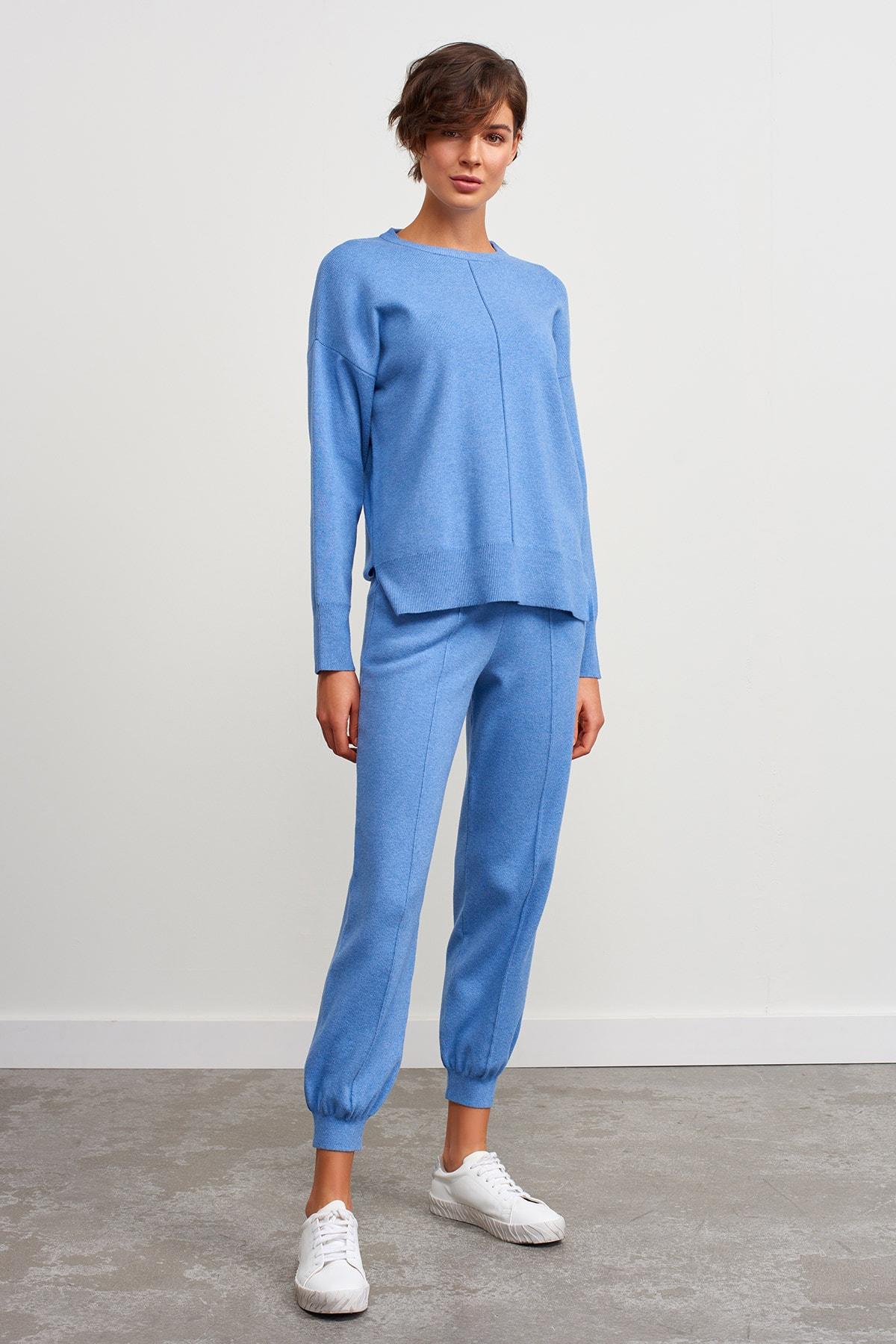 JOIN US Beli Ve Paçası Lastikli Cepli Triko Pantolon-mavi 1