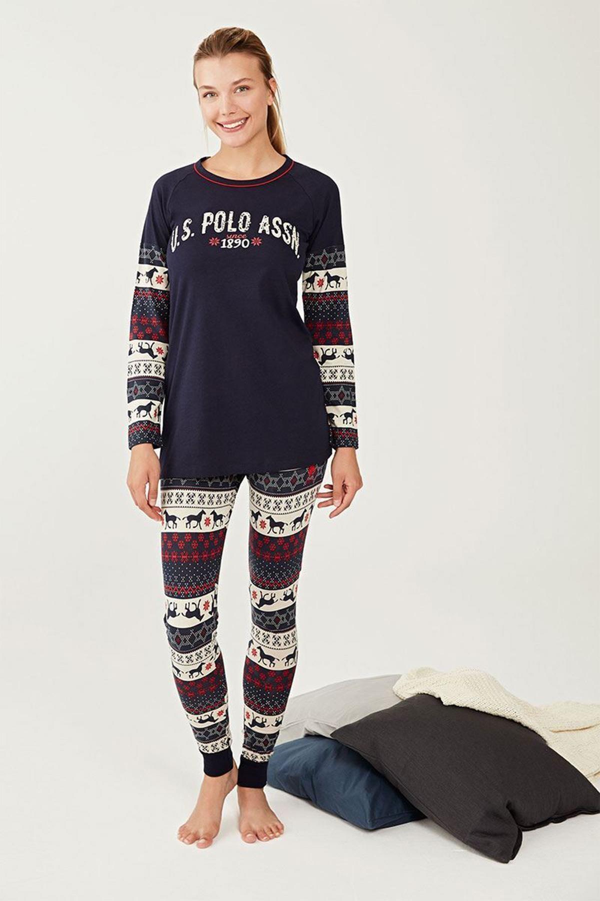 U.S. Polo Assn. Yuvarlak Yaka Bayan Pijama Takım 16278 1