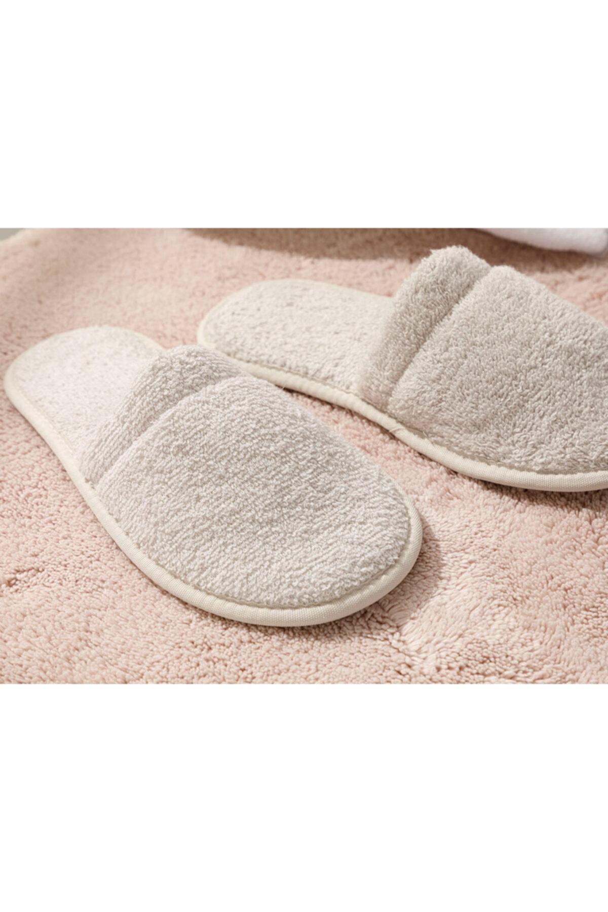 English Home Simple Pamuklu Kadın Banyo Terliği 36-40 Açık Bej 2